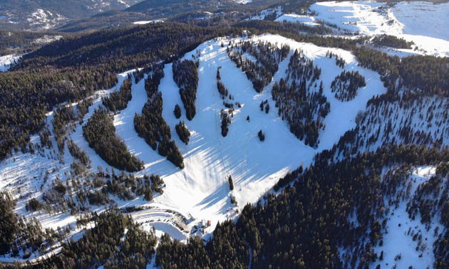 Aerial view of the Phoenix Mountain Ski Area.