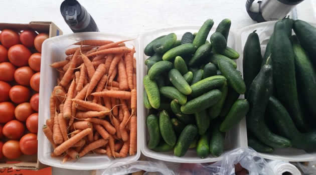 Carrots, cucumbers and pickles in separate bins.