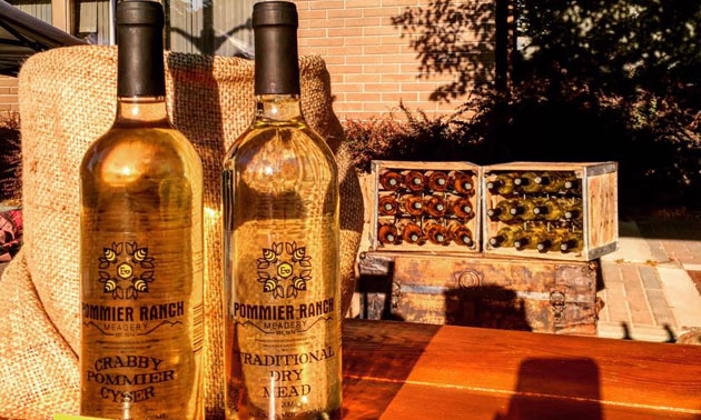 Bottles of mead from Pommier Ranch Meadery.