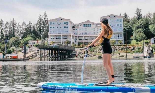 Danelle paddling by Sooke Oceanfront Resort