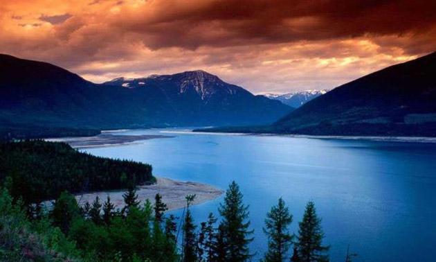 Scenic lake and mountain vista.