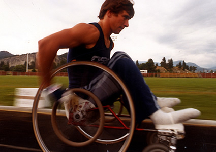 Photo of Rick Hansen in wheelchair race