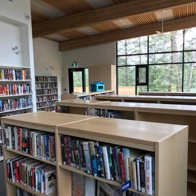The interior of new Radium Hot Springs Public Library is spacious, with a dedicated area for children and a cozy reading space for adults.