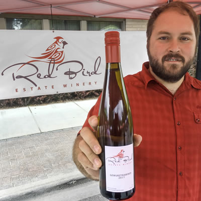 Remi Cardinal, owner of Red Bird Estate Winery in Creston.
