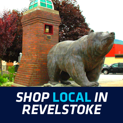 Downtown Revelstoke, including a statue of a bear.