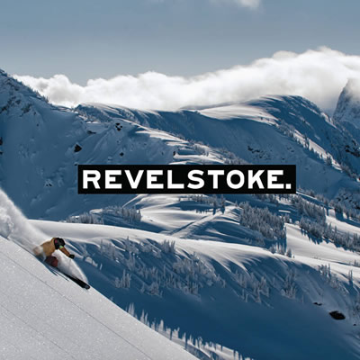 Picture of ski scene, with word REVELSTOKE in large plain font.