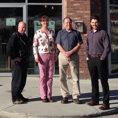 Revelstoke's steering committee for the Business Retention & Expansion program: (L to R) Kevin Dorrius (Community Futures), Judy Goodman (chamber of commerce) Alan Mason (City of Revelstoke) and Mark Rossi (BRE research co-ordinator)