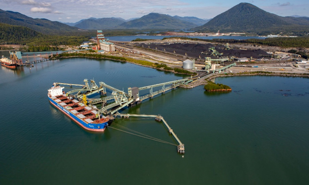 Aerial view of the Ridley Terminal in Prince Rupert, B.C.