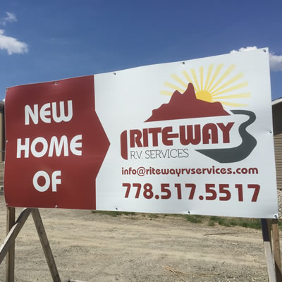 Sign showing new home of Rite-Way RV Services.