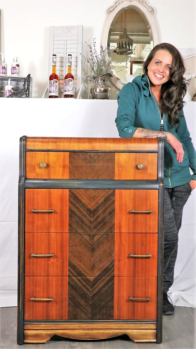 Robin gallant and her newly renewed and restored furniture in Nelson, B.C.