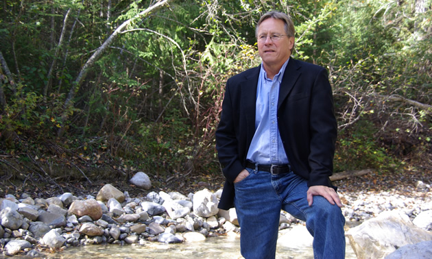 Ron Oszust, the mayor of Golden, B.C., enjoys a quiet moment outdoors