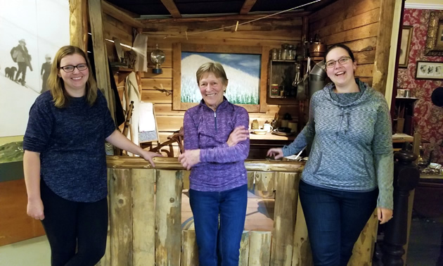 Museum director Joelle Hodgins, museum president Libby Martin and collections manager Veronica Vareiro of the Rossland Museum & Discovery Centre