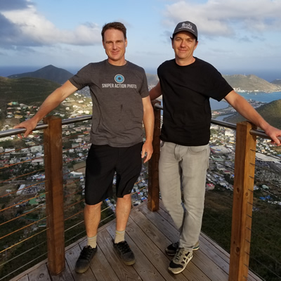 Dave Grimsdell (L) and Ryan Johnson, founders of Sniper Action Photos, installed cameras for Rockland Estates in St. Martin.