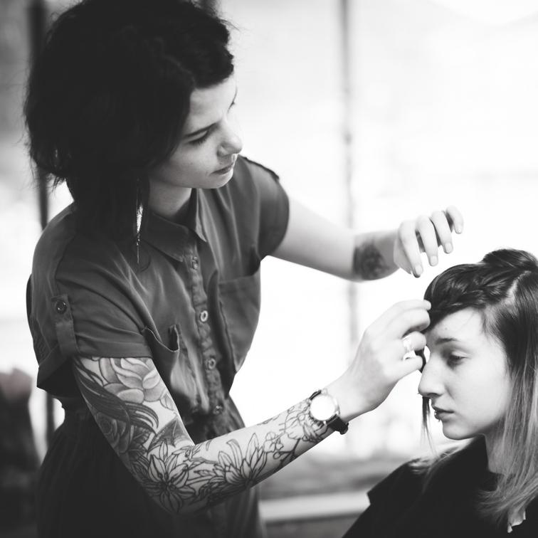 Sara Sansom doing a lady's hair