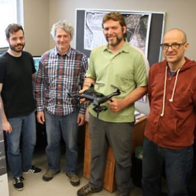 Members of the SMARTS project team at Selkirk College's Applied Research & Innovation Centre in Castlegar.