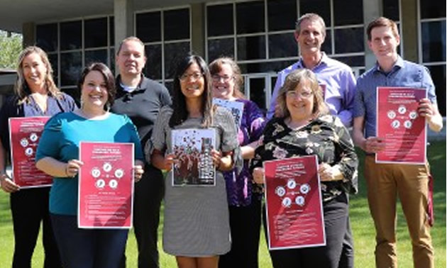 After months of consultation and careful committee work, Selkirk College has released Building Remarkable Futures: Strategic Plan 2019-2024. Some of the college employees involved in putting the document together include: (L-R) Tessa Stark, Tiffany Snauwaert, Gordon Rein, Gail Crockford, Shana Rablah, Barb Ihlen, Angus Graeme and Bob Hall.
