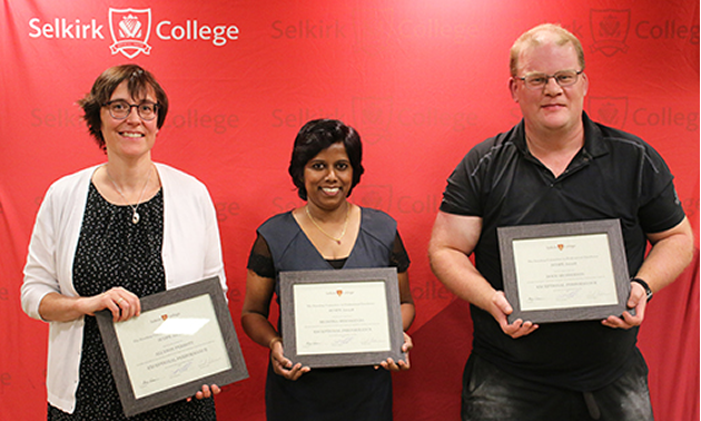 The Selkirk College Faculty Association Standing Committee on Professional Excellence (SCOPE) Awards recognized outstanding contributions to post-secondary education in the region at the annual event. From left to right are Allyson Perrott, Muditha Heenkenda and Doug Henderson.