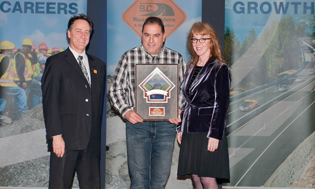 Regional Manager, Tony Maida, Area Manager of Selkirk Paving based in South Slocan  is presented the Excellence in Paving award at the  Deputy Minister's Contractor of the Year Awards held recently in Victoria.