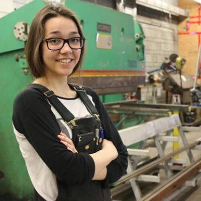 A graduate of Mount Sentinel Secondary, Jennifer Perepelkin is a Selkirk College Metal Fabricator Foundation Program and is moonlighting on the Yellowridge Construction crew that is working on the Silver King Campus refresh project currently taking place in Nelson.