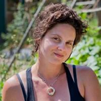Shauna Teare is in her garden. She's headed up the Kootenay Food website initiative.