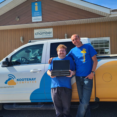 Employee Shawn and owner of Kootenay Computer, Sebastiaan van der Horst.