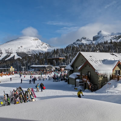 View of ski hill and buildings.