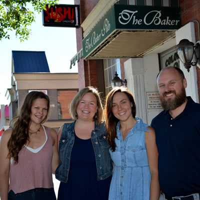 Greg Eaton, Tamara Mercandelli, Caitlin Berkhiem and Christel Hagn, outside Cranbrook's Historic Baker Hotel.