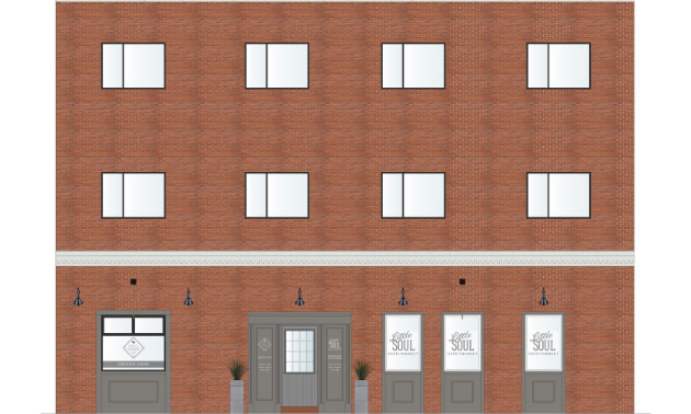 The rendering above shows the exterior entrance to Lane & Meadow and Little Soul on 11th Avenue South. The entrance to Soulfood restaurant will be on Baker Street.