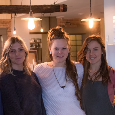 Theresa Kostiuk of Lane & Meadow, and Caitlin Berkhiem and Christel Hagn of Soulfood in their new space at the Mount Baker Hotel. (Missing Soulfood co-founder Tamara Mercandelli)