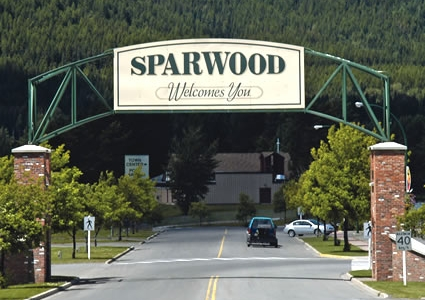 Welcome to Sparwood sign