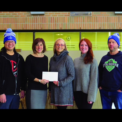 Pictured (l-r) Keon Chung, Just Music; Cori Andrichuk; Carey Fraser; Sjaane Beattie, co-owner Kootenay Life Cycle; and Trevor Zak, owner Fitness Inc.