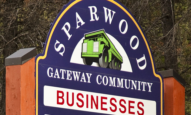 Sign at the entrance to the community of Sparwood, B.C.