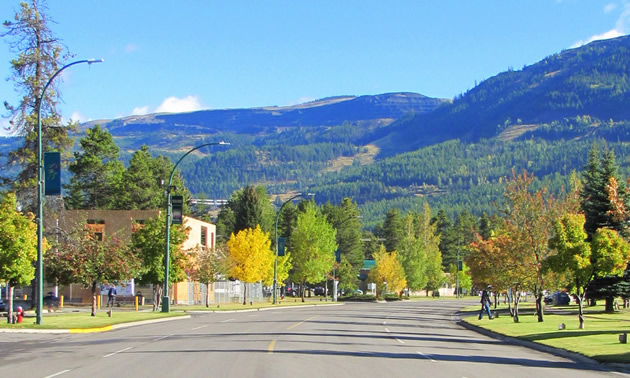 Summer streetscape in Sparwood, B.C.