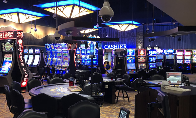 Gaming tables and slot machines at the St. Eugene resort casino