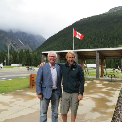 MP Wayne Stetski stands at Glacier National Park.