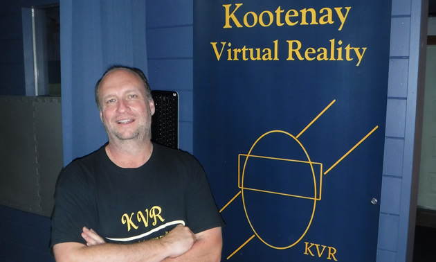 Steve Fischer with the company logo for Kootenay Virtual Reality