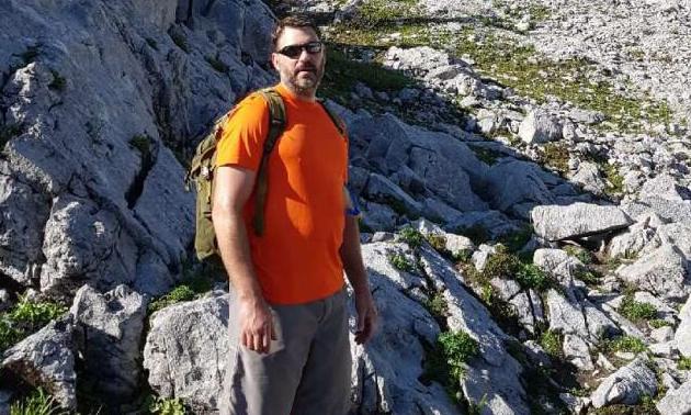 Steven Droste hiking near Sparwood, B.C.