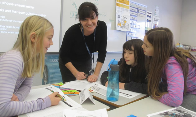 Susan Clovechok, executive director of the Columbia Valley Chamber of Commerce, spent time with members of Junior Achievement B.C.