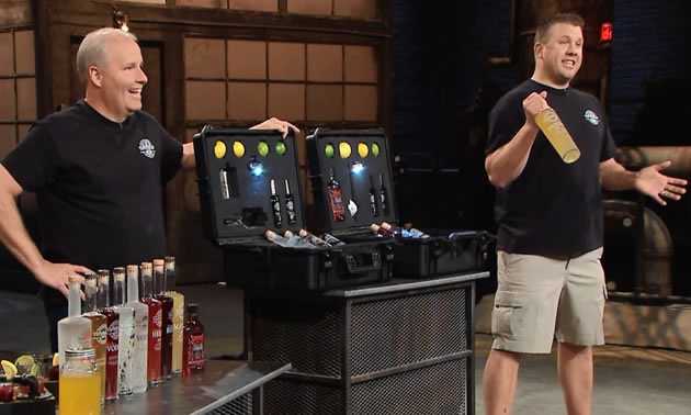 Owners of Taynton Bay Spirits appearing on CBC Dragons Den.