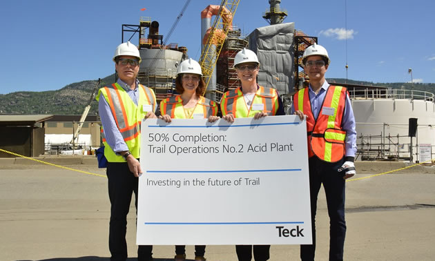 Celebrating the 50% completion of the Trail Operations No.2 Acid Plant with Minister Michelle Mungall and Minister Katrine Conroy. The new plant is an important investment to further improve operational and environmental performance.