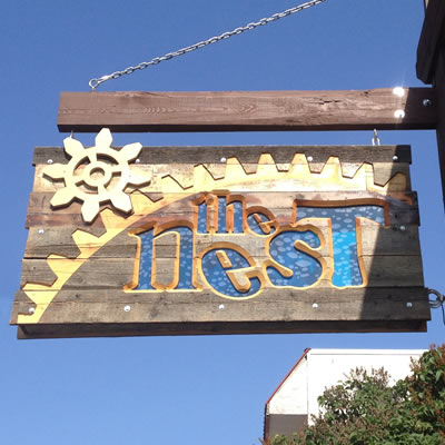 The Nest restaurant sign