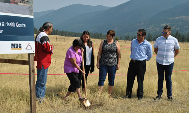 The Tobacco Plains Indian Band ground breaking (left to right) Mike Kenmille, Nasukin Mary Mahseelah, Tania Brewer, Band Administrator, Debbie Whitehead, Director, Social Sector, Darren Jameson CAO, Ktunaxa Nation Council, Ryan Sarfeld, Manager Housing & Infrastructure at Tobacco Plains.