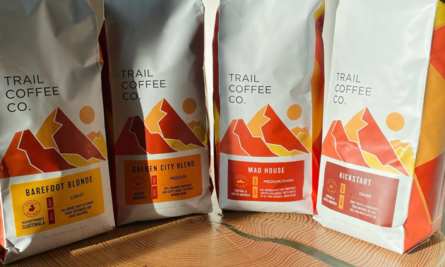 Row of Trail Coffee Co. products.