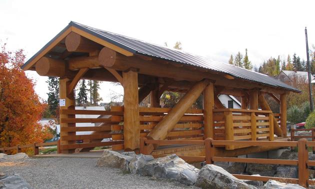 Log and timber bridge in Kimberley, B.C.