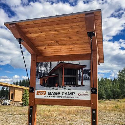 Photo of Tyee Homes Base Camp sign.
