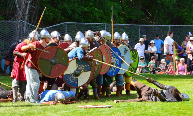 Man down! The Sons of Fenrir are Viking re-enactors from Calgary, Alberta.