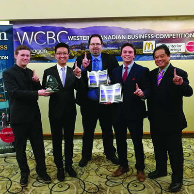 The winning team members from the Business Management program at College of the Rockies are (L to R) Jordan Lydell, Yunguang (John) Li, Bradley Schmidt, Brandon Ouillette and Rezin (Butch) Butalid course instructor and team coach.