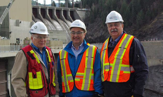Partners in the Waneta Expansion Limited Partnership project are represented by (L to R): Giulio Ambrosone of Columbia Power, Neil Muth of Columbia Basin Trust and John Walker from Fortis BC.