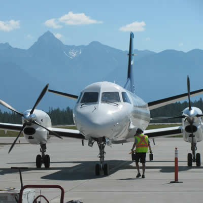 WestJet Link aircraft at Canadian Rockies International Airport on June 20, 2018.