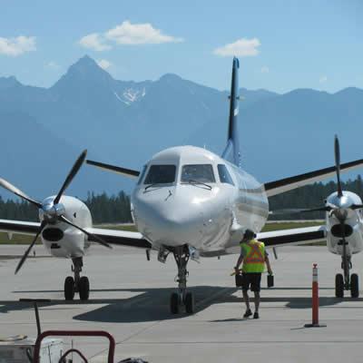WestJet Link aircraft at Canadian Rockies International Airport on June 20, 2018.